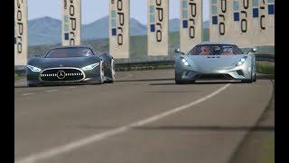 Download Battle Mercedes-Benz Vision GT vs Koenigsegg Regera at Highlands Video