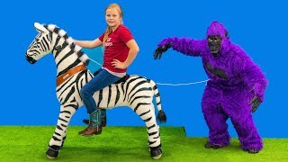 Download Gorilla Escape the Zoo and the Assistant Uses her Pony Cycle and Explores her Box Fort Video