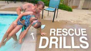 Download SWIMMING POOL WATER RESCUE DRILLS! PRACTICING SAVING LIVES! Video