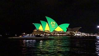 Download 2016 Rio Olympics in Australia - Sydney Opera House light up in Green and Gold Colour Video