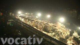 Download 19 Buildings Demolished By Five Tons Of Explosives Video