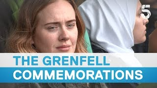 Download Grenfell a year on: Silence falls as victims of fire remembered - 5 News Video