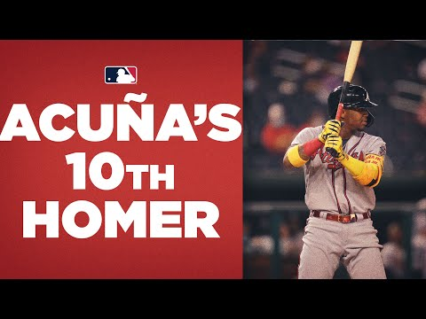 Ronald Acuña Jr. is the first to TEN home runs this season! (This blast gives Braves lead)