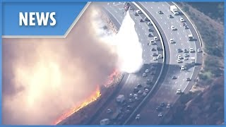 Download California Wildfires: choppers protect fleeing motorists Video