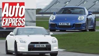 Download Porsche 911 GT3 vs Nissan GT-R track battle Video