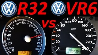Download VW Golf 3 VR6 vs VW Golf 4 R32 - 0-200 Km/h Acceleration Autobahn compare Video