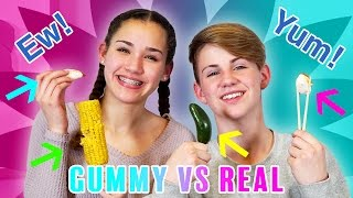 Download GUMMY FOOD vs. REAL FOOD CHALLENGE! (MattyBRaps vs Gracie Haschak) Video