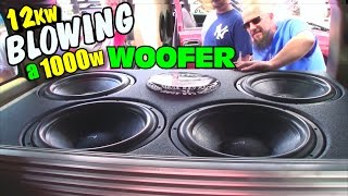 Download Blowing A Subwoofer w/ TRIPLE Rated Power | Derek Smoking Up 1000W DC Audio Sub on 12,000 Watts RMS Video