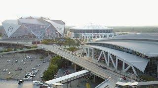 Download [NEW] Mercedes Benz Stadium & Suntrust Park drone flyover Video