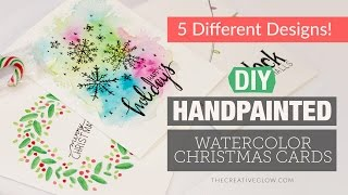 Download DIY Hand-painted Watercolor Christmas Cards - 5 Different Designs! Video