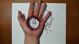 Download Cool 3D Trick Art - Bullet Hole in Hand Video