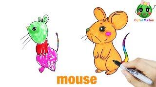 Download 學畫可愛的小老鼠 邊畫畫邊學英語 Drawing Cute Mouse【西瓜寶寶學畫畫學英語】兒童繪畫 簡筆畫教程 Video