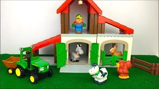 Download ECOIFFER ABRICK FARM PLAYSET BUILDING AND PLAY WITH JOHN DEERE FUN TRACTOR & ANIMALS COW HORSE GOAT Video