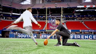 Download MY FIRST TIME KICKING IN AN NFL STADIUM! (LOCKER ROOM TOUR) Video