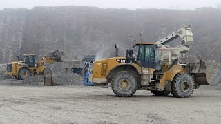Download Metso Rock Crushers and CAT 349E,962K and 980H working in a quarry Video