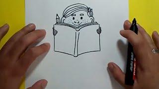 Download Como dibujar a un niño leyendo paso a paso 2 | How to draw a child reading 2 Video