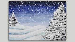 Download Acrylic Painting - Winter Pines - Landscape Painting - #LoveWinterArt Video