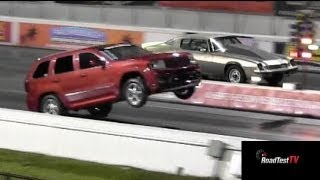 Download Fastest NA SRT 8 Jeep Cherokee vs Big Block Camaro - Wheelstand - Drag Race Video - Road Test TV Video