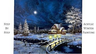 Download Snowy Winter Night STEP by STEP Acrylic Painting (ColorByFeliks) Video