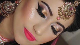 Download Real Bride | Engagement/Nikaah Asian Bridal Makeup | Gold Smokey Eyes And Bright Pink Lipstick Video