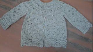 Download جاكيت تريكو من فوق الى تحت لعمر سنة الى سنة ونصف (الجزء الاول) ....Knitting top down baby Sweater Video