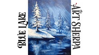 Download Simple Winter Landscape Frozen Lake with Pines Acrylic Painting tutorial Video