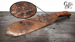 Download Rare WW2 USMC Medics Bolo Knife RESTORATION...It's good... Video