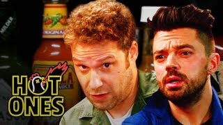 Download Seth Rogen and Dominic Cooper Suffer While Eating Spicy Wings | Hot Ones Video