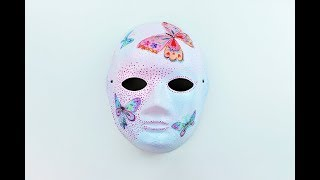 Dekupaj Maske Boyama Diy Decoupage Mask Tutorial Free