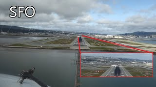 Download Crossing airplane very close. Landing in San Francisco (KSFO) Cockpit view Video