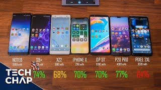 Download Galaxy S9+ vs iPhone X vs Huawei P20 Pro vs Sony XZ2 vs OnePlus 5T - Battery Test! | The Tech Chap Video