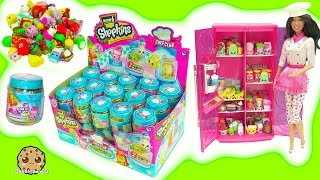 Download Full Box of 60 Season 6 Chef Club Shopkins Surprise Blind Bag Jars In Barbie Doll Refrigerator Video