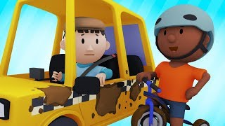 Download Carl Cleans A Messy Taxi And A Muddy Tricycle At His Carwash | Cartoons For Kids Video