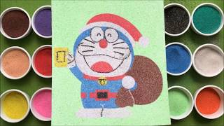 Download Đồ chơi trẻ em TÔ MÀU TRANH CÁT ĐORAEMON ÔNG GIÀ NOEL - Learn Colors Sand Painting (Chim Xinh) Video