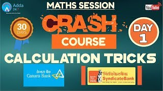 Download CRASH COURSE FOR SYNDICATE BANK, CANARA BANK | Calculation Tricks | Maths (Day -1) Video