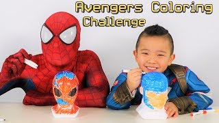 Download SUPERHERO COLORING CHALLENGE!!Spiderman VS Captain America Avengers Fun With Ckn Toys Video