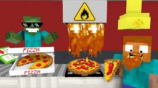 Download Monster School: WORK AT PIZZA PLACE! - Minecraft Animation Video