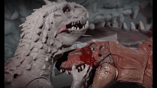 Download Jurassic World Indominus Rex VS T-rex and Blue Lego stop motion Video