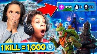 Download 1 KILL = FREE 1000 V BUCKS! Fortnite: Battle Royale w/ My 6 Year Old Son! Video