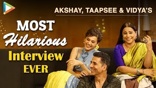 Download Akshay, Taapsee & Vidya's FUNNIEST Interview | Mission Mangal | Rapid Fire | Superb Quiz Video