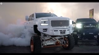 Download Big SEMA trucks burning out! Video is full of burnouts resulting to a blown differentials! Video
