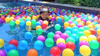 Download Swimming With 1000 Colour Balls In The Pool Kids Outdoor Fun With Ckn Toys Video
