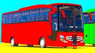 Download LEARN COLOR BIG BUS and ATV CARS Spiderman Superheroes Cartoon for Kids & Children Video