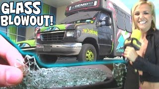 Download BASS EXPLODES WINDOW... 3ft From EXO's Face! EXTREME Sound SYSTEM w/ The DEMO BUS & 12 18″ WOOFERS Video