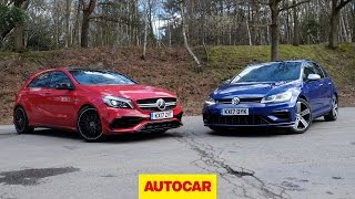 Download Mercedes-AMG A45 versus Volkswagen Golf R review | 4wd hot hatches go head to head | Autocar Video