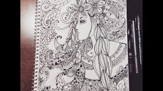 Download zentangle inspired woman doodle - flowers Video