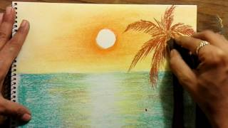Download How to draw sunset scenery using dry pastels very easy Video