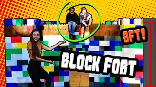 Download WE MADE A FORT OUT OF BLOCKS! (How Big Could We Make It?) Video