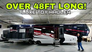 Download LARGEST I'VE REVIEWED! 48.5ft long LUXE Toy Hauler! Check this out! Video