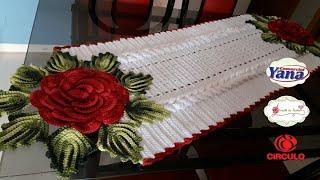Download MEGA ROSA de crochê RUBI DE NATAL/trilho de mesa 1/2 Video
